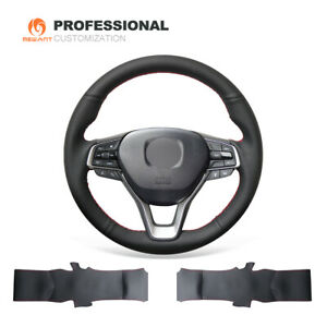 Black Real Leather Car Steering Wheel Cover For Honda Accord 10 Insight