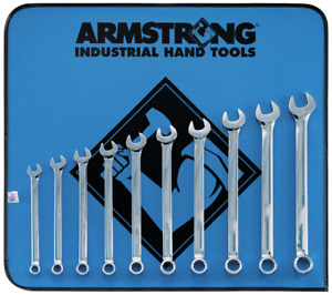Long Metric Wrench Set Combination 10 Pc 12 Point Full Polish Amstrong Tools