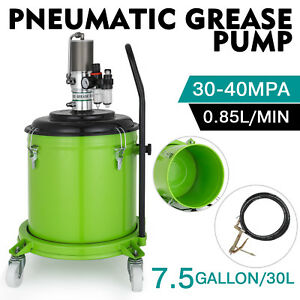 7 5 Gallon Grease Pump Air Pneumatic 30l 50 1 Pressure Ratio 0 85 L min Wheels