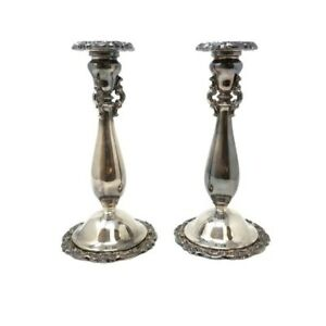 Vintage Wallace Silversmiths Baroque Pair Of Silver Plated Candle Sticks 9 5
