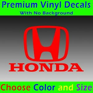 Honda Decal Honda Car Emblem Logo With Text Vinyl Sticker Civic Accord Vtec