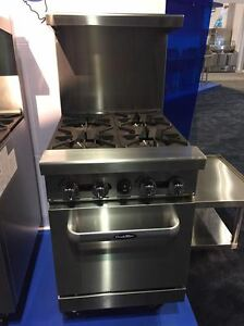 New Heavy 24 Range 4 Burners With 1 Space Saver Oven Stove Natural Gas Only