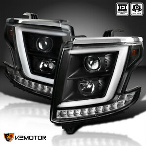 Black For 2015 2020 Chevy Tahoe Suburban Projector Headlights led Signal Strip