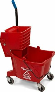Commercial Mop Bucket With Side Press Wringer 26 Quart Capacity Red 3690805