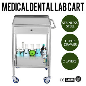 1x Portable 2 Layers Serving Medical Dental Lab Cart Trolley Stainless Steel Yr