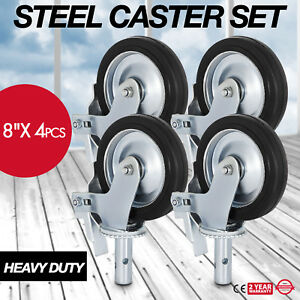 A Set Of 4 Scaffolding 8 Rubber Caster Wheels Double Locking Brake