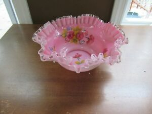 Stunning Victorian Crested Cranberry Cased Ruffled Brides Basket Bowl