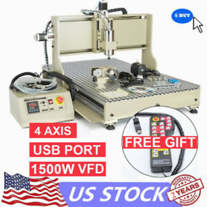 4axis Usb 6090 Cnc Router Engraver 1500w Art Engraving Milling Drilling Machin