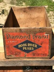 Antique Diamond Brand Hood River Pears Wood Wooden Shipping Box Crate 19 5x12x9