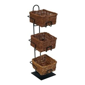 3 tier 3 Square Willow Basket Counter Display Rack