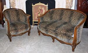 Antique Country French Louis Xv Walnut Salon Canape Sofa Arm Chair Circa 1850