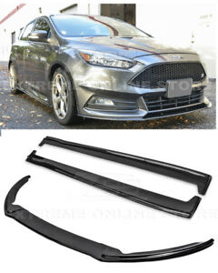 For 15 Up Ford Focus St Add On Front Lip Splitter W Side Skirts Rocker Panel Cf
