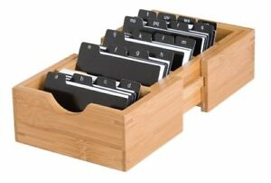 Lipper International 810 Bamboo Wood Expandable Business Card Holder With Index