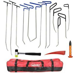Pdr Tools Push Rods Spring Steel Body Paintless Dent Repair Hail Removal Bag Set