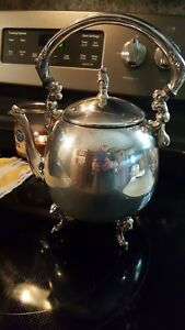Vintage Sheridan Silver On Copper Tea Pot Kettle Silver Plate Footed