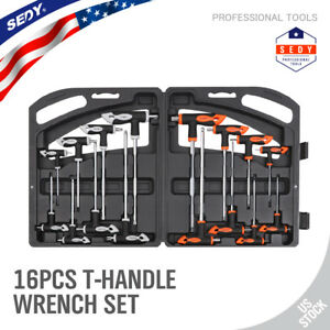 16 Pc T handle Torx Star Hex Key Wrench Set 2 Drive Ball End W storage Stand