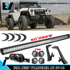 50 288w Led Light Bar 4p 3 Cree Pods Offroad For 1997 2006 Jeep Wrangler Tj