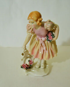 Antique Art Deco Karl Ens Germany Porcelain Girl Watering Figurine