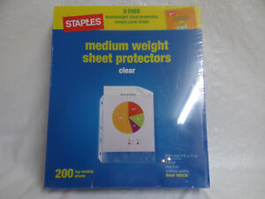 200 Clear Sheet Protectors 8 1 2 X 11 Medium Weight Staples 48633 Top Load 015