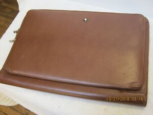Mont Blanc Tan Leather Portfolio Case 15 X 10 Inches Beautiful Must See