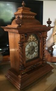 Huge Edwardian Walnut Mantle Clock German Working