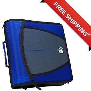 Case it Mighty Zip Tab O ring Binder Blue 3 Inches free Shipping