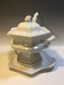 Ironstone Soup Tureen W Ladle Under Plate Flower Finial Red Cliff
