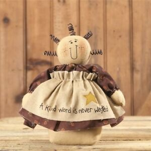 Primitive Country Inspirational Stump Doll W A Kind Word Is Never Wasted Apron