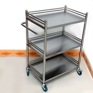 Stainless Steel Three Layers Serving Medical Dental Lab Cart Trolley Unique Bos