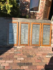 Sg 2578 Set Of Four Matching Oak Leaded Glass Cabinet Doors 18 X 41 75