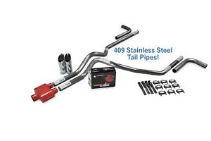 Chevy Gmc 1500 99 06 2 5 Ss Dual Exhaust Kit Cherry Bomb Extreme Side Sl Tip