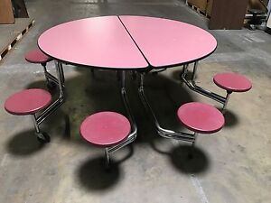 2 Available Lunchroom Round Table W 8 Burgandy Stool Adult Size 60