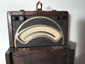 Vintage Western D c Voltmeter Model 3489 In Original Dark Wooden Case