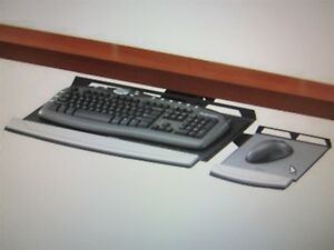 Fellowes 8031401 Fully Adjustable Keyboard Manager W Mouse Tray Desk Mount New