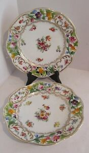 2 Antique 9 Union T Czechoslavakia Reticulated Dinner Plates Floral W Gold Trim