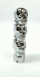 Chrome Metal Skull Shift Knob Handle Hot Rod Rat Rod Street 3 Stacked Skulls