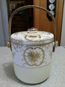 Beautiful Antique Guilded Ice Bucket Biscuit Jar Made In Japan