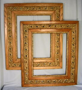 Matched Pair Antique Double Oak Gesso Pierced Picture Frames 16 X 20