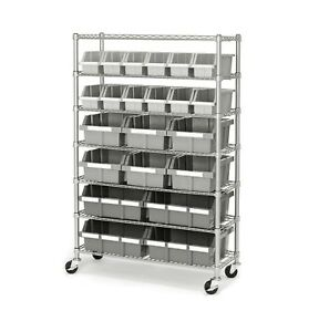 Seville Classics 22 bin Rack Rolling Wheels Garage Warehouse Storage Shelves