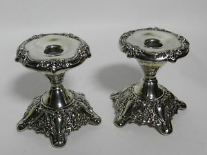 Pair Of Vintage Victorian Ornate Lunt E 61 Silverplate Candlesticks Vt2639