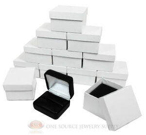 12 Piece Double Ring Black Leather Jewelry Gift Boxes 2 3 8 w X 2 d X 1 1 2 h