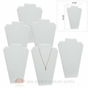 6 12 1 2 White Leather Padded Pendant Necklace Display Easel Presentation