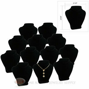 12 2 5 8 Pendant Necklace Black Velvet Mini Jewelry Bust Display Stand