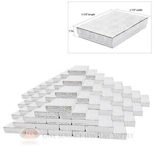 100 Large Silver Foil Cotton Filled Jewelry Gift Boxes 5 3 8 X 3 7 8 X 1 h