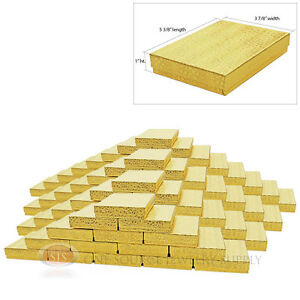 100 Large Gold Foil Cotton Filled Jewelry Gift Boxes 5 3 8 X 3 7 8 X 1 h