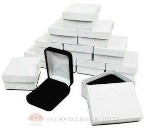 12 Piece Black Velvet Necklace Earrings Jewelry Gift Boxes 2 1 4 X 3 X 1 1 4 h
