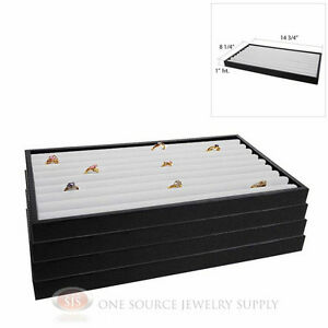 4 Black Plastic Stackable Trays White Leather Continuous Row Ring Displays