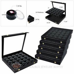 6 Black 25 Gem Jar Inserts W Snap Acrylic Display Cases Gemstone Jewelry
