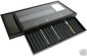 2 18 Slotted Acrylic Lid Jewelry Display Bracelet Case