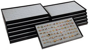 12 72 Slot Gray Ring Display Travel Tray Jewelry